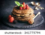buckwheat pancakes with berry... | Shutterstock . vector #341775794