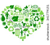 eco green symbols in heart shape | Shutterstock .eps vector #341779151