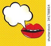 speech bubble pop art on dot... | Shutterstock . vector #341788814