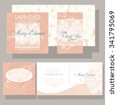 wedding invitation with roses.... | Shutterstock .eps vector #341795069