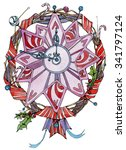 christmas clock  decorative... | Shutterstock . vector #341797124