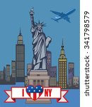statue of liberty. new york and ... | Shutterstock .eps vector #341798579