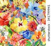 abstract watercolor hand... | Shutterstock . vector #341799941