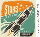 retro poster with rocket launch.... | Shutterstock .eps vector #341801699