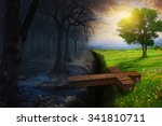 a cross bridges the gap between ...   Shutterstock . vector #341810711