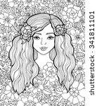 pretty elegant girl with wreath.... | Shutterstock .eps vector #341811101