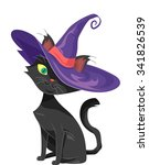 Stock vector halloween illustration of a black cat dressed as a witch 341826539