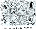 hand drawn christmas characters ... | Shutterstock .eps vector #341835521
