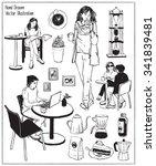 vintage coffee objects. people... | Shutterstock .eps vector #341839481
