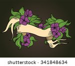 vintage ribbon with line leafe... | Shutterstock .eps vector #341848634