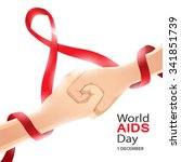 world aids day card 1 december | Shutterstock .eps vector #341851739