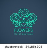 beautiful logo with rose... | Shutterstock .eps vector #341856305