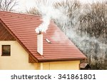 smoking chimney on the red roof.... | Shutterstock . vector #341861801