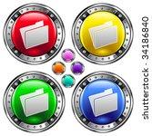 file folder icon on round... | Shutterstock .eps vector #34186840