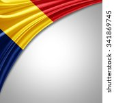 romania flag  of  silk with... | Shutterstock . vector #341869745