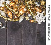 silver and gold christmas...   Shutterstock . vector #341870189