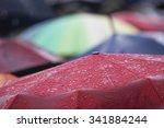 rain umbrella with rain drops | Shutterstock . vector #341884244