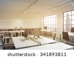 workplaces in a sunset loft... | Shutterstock . vector #341893811