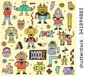 wacky funny fantastic doodle... | Shutterstock .eps vector #341894885