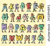 abc funny alphabet characters.... | Shutterstock .eps vector #341894891