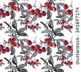 watercolor garden ripe cherries ... | Shutterstock . vector #341897174