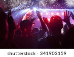 fireworks and crowd celebrating ... | Shutterstock . vector #341903159