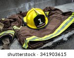 firefighter uniform with yellow ... | Shutterstock . vector #341903615