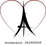 eiffel tower heart peace sign | Shutterstock .eps vector #341905949