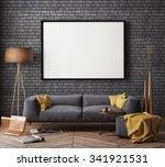 mock up poster with vintage... | Shutterstock . vector #341921531