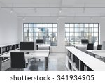 workplaces in a bright modern... | Shutterstock . vector #341934905