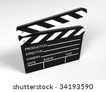 movie clapper board   3d... | Shutterstock . vector #34193590