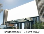 blank billboard at skyscrapers... | Shutterstock . vector #341954069