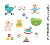 baby and child related icons ... | Shutterstock .eps vector #341961359