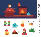 winter related icons and... | Shutterstock .eps vector #341961389