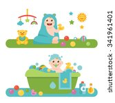 baby and child related icons ... | Shutterstock .eps vector #341961401
