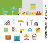 construction related icons and... | Shutterstock .eps vector #341961674
