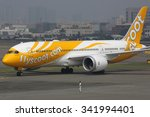 Small photo of KAOHSIUNG, TAIWAN - OCTOBER 17: A Scoot Boeing 787 Dreamliner taxis on October 17, 2015 in Kaohsiung, Taiwan. Scoot is a low-cost airline from Singapore.