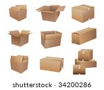 shipping boxes collection | Shutterstock .eps vector #34200286