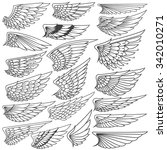 big set sketches of wings | Shutterstock .eps vector #342010271