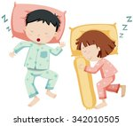 boy and girl sleeping side by... | Shutterstock .eps vector #342010505
