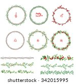 round christmas wreathes.... | Shutterstock .eps vector #342015995