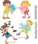 illustration of  a kids with... | Shutterstock .eps vector #34204435