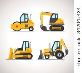 Car Flat Icon Set With...