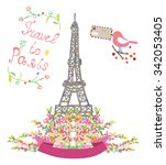 travel to paris cute poster... | Shutterstock .eps vector #342053405