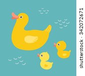 Cartoon Mother Duck Swimming I...