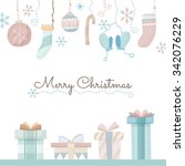 vector christmas greeting card. ... | Shutterstock .eps vector #342076229