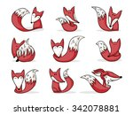 nine cute hand drawn cartoon... | Shutterstock . vector #342078881