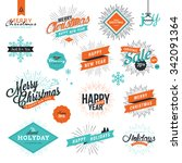 christmas and new year's... | Shutterstock .eps vector #342091364