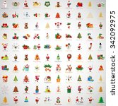 christmas icons and elements... | Shutterstock .eps vector #342092975