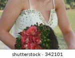bride with rose bouquet and...   Shutterstock . vector #342101